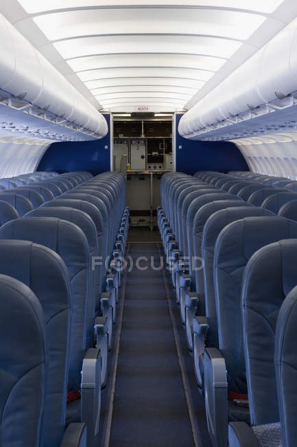 Interior view of empty cabin of airplane — Stock Photo