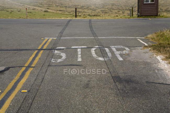 Pneus de marques de dérapage sur Stop lettrage sur asphalte — Photo de stock
