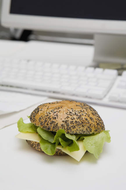 Lettuce and cheese sandwich on a poppy seeds bun at workplace — high