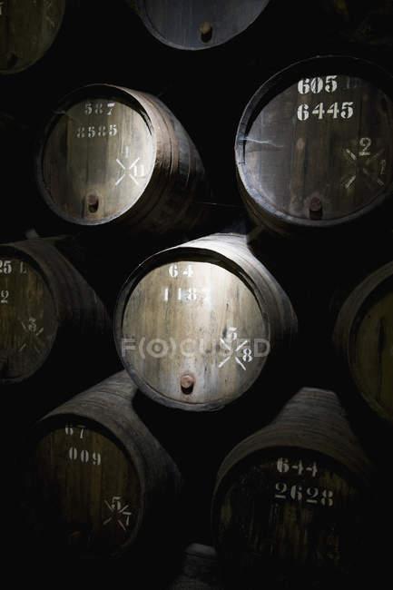 Quadro cheio de barris de vinho na adega — Fotografia de Stock