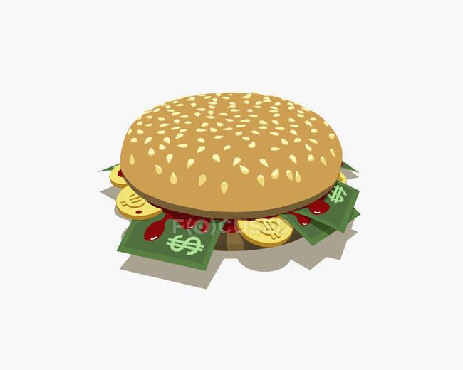 Un hamburger con le banconote del dollaro e le monete all'interno — Foto stock