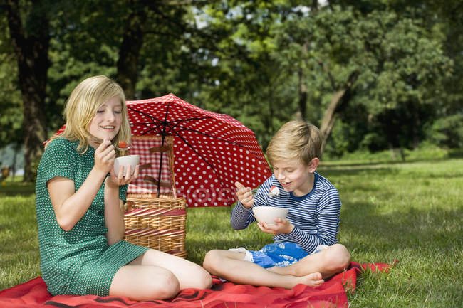 Zwei Kinder essen Erdbeeren und Joghurt bei einem Picknick — Stockfoto