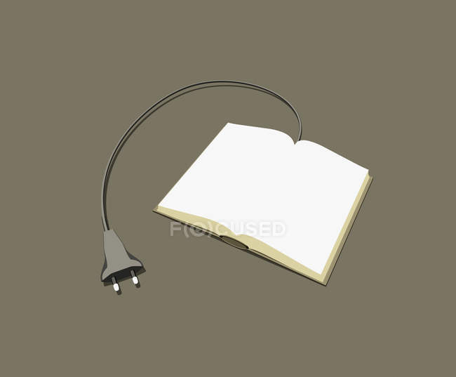 Power cable connected to book — Stock Photo