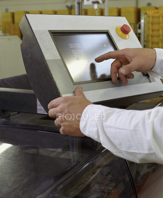 Crop male hands using computer monitor in  mailroom — Stock Photo