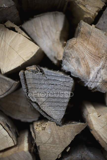 Full frame shot of pile of firewood — Stock Photo