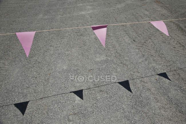 Розовый овсянка висит над дорогой — стоковое фото