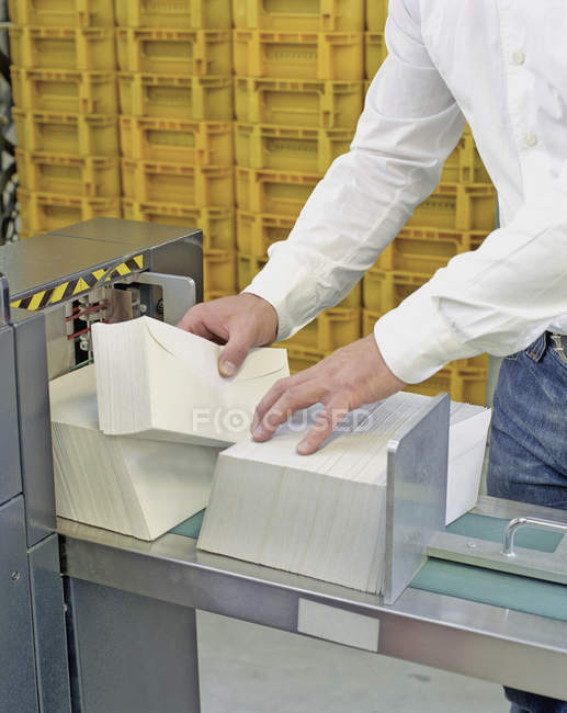 Crop person sorting envelops at mail office — Stock Photo