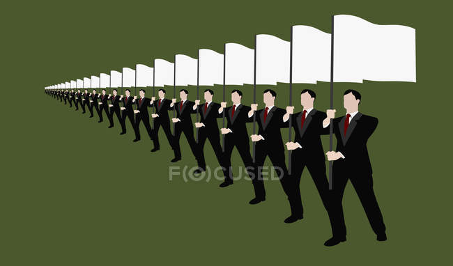 Businessmen holding white flags and standing in row — Stock Photo