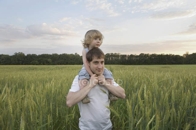 A man carrying a child on his shoulders through a wheat field — Stock Photo