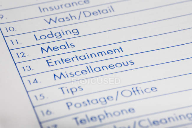 Close up view of expense sheet — Stock Photo