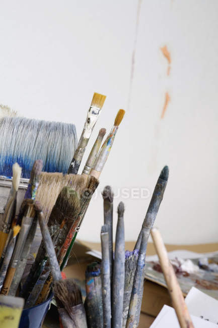 Crop bunch of artist's paintbrushes — Stock Photo