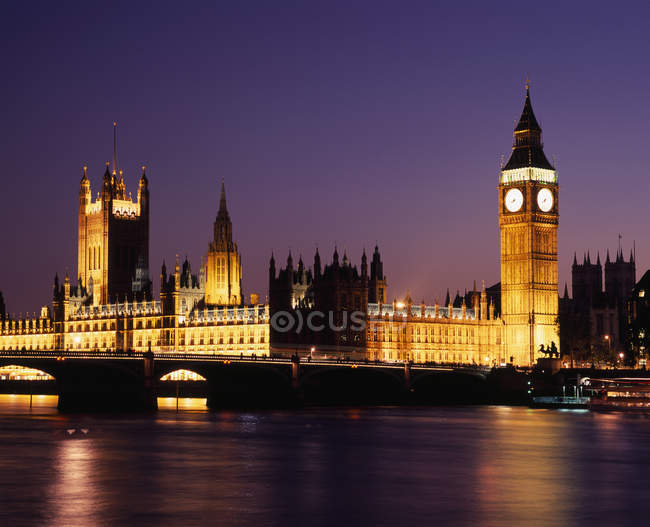 Illuminated Houses of Parliament at night, London — Stock Photo