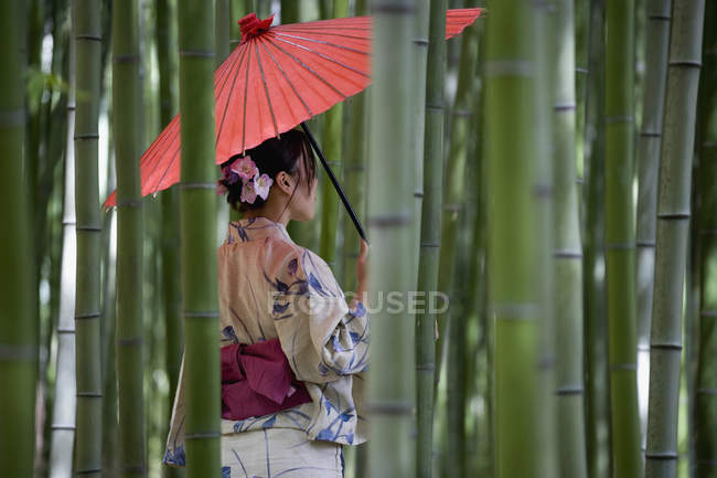 Une femme portant un kimono et debout dans un bambou — Photo de stock