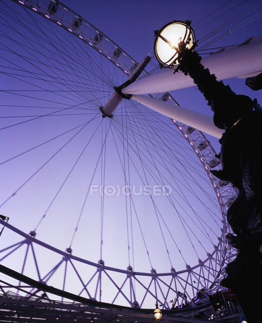 Bottom view of London Eye over sky — Stock Photo
