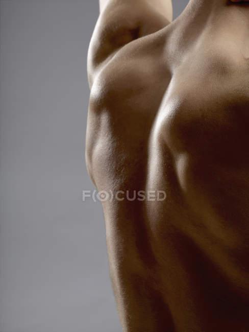 Cropped image of man back on grey background — Stock Photo