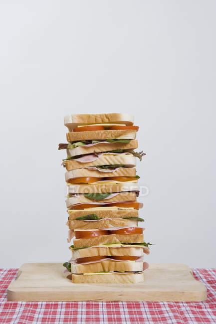 Großes Sandwich an Bord am Tisch mit karierten Tischdecke — Stockfoto