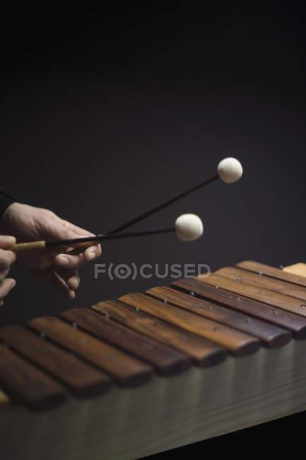 Erntehelfer spielen auf Xylophon — Stockfoto