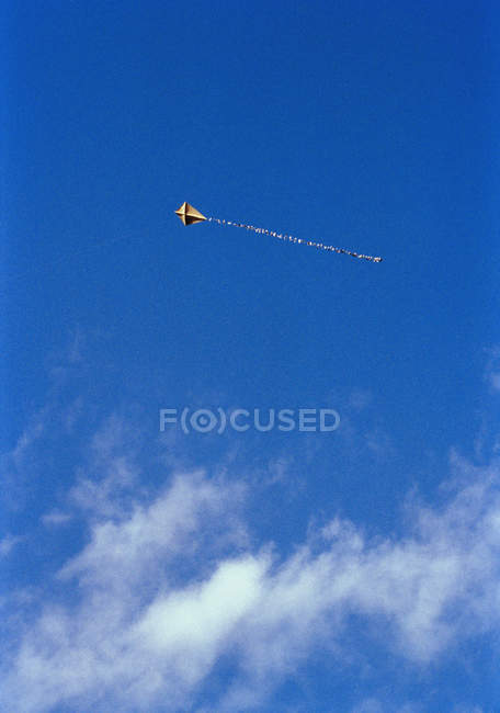 Low angle view to kite flying in blue sky — Stock Photo