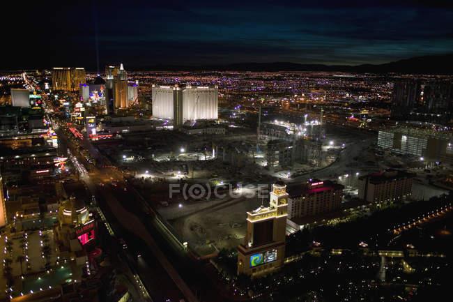 Повітряні міський пейзаж вночі, Лас-Вегас, Невада — стокове фото