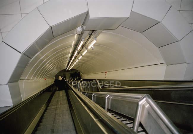 Interior view of escalator at subway station — Stock Photo