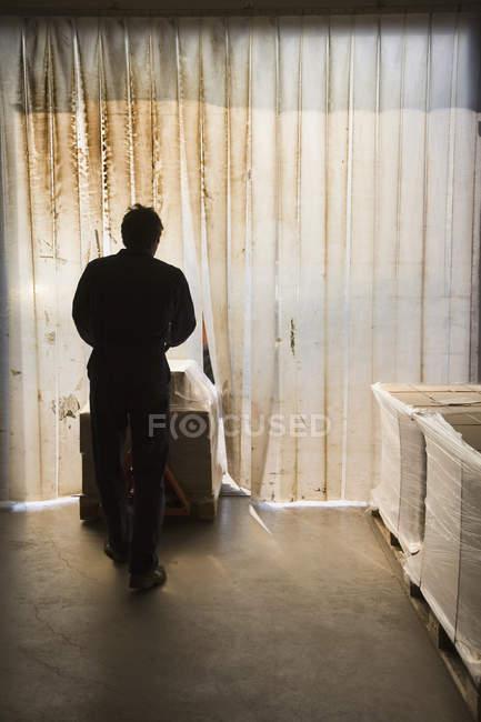 Silhueta de homem empurrando empilhadeira através da porta de plástico — Fotografia de Stock