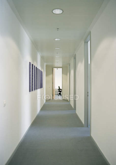 Interior view to empty office corridor — Stock Photo