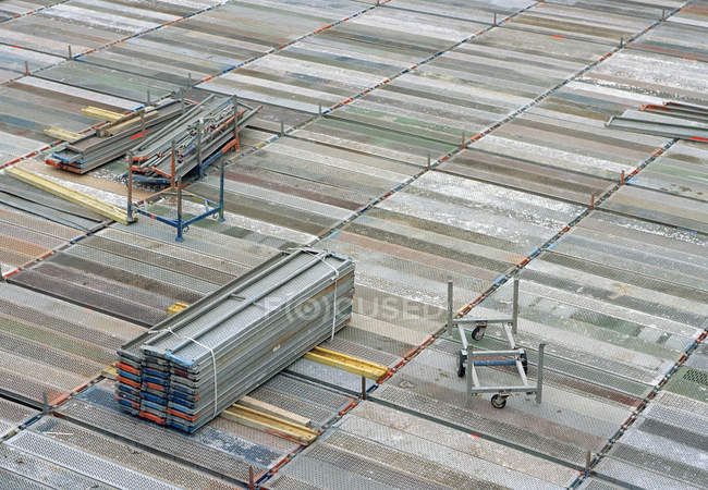 High angle view of stacked scaffolding — Stock Photo