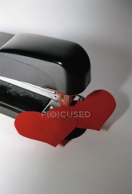 Два сердца прикован бумаги в степлер — стоковое фото