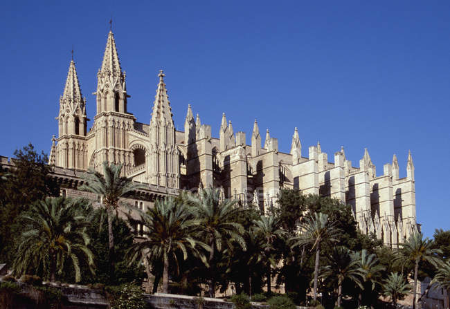 Vista esterna della Cattedrale di Palma nella giornata di sole, Maiorca, Spagna — Foto stock