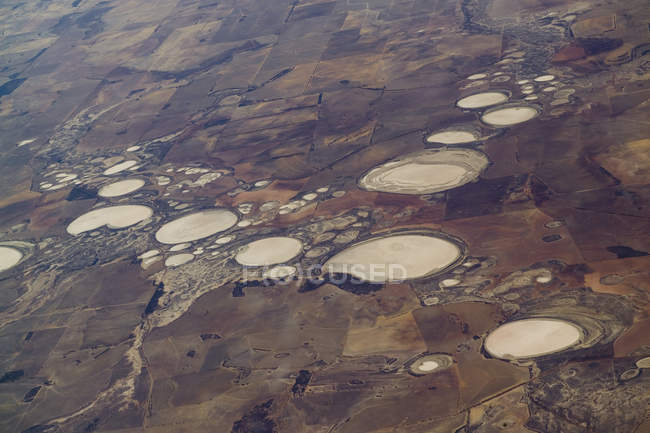 Aerial view of landscape with salt lakes — Stock Photo
