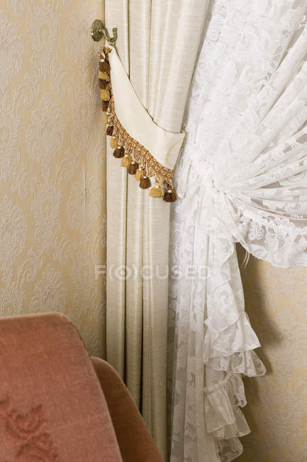 Detail Of Lace Curtains Drawn Back U2014 Stock Photo