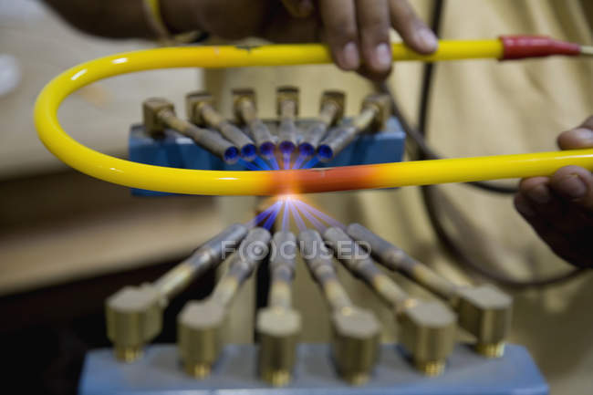 Process of neon tube firing at workshop — Stock Photo