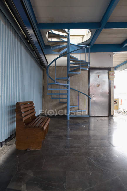 Interior with spiral staircase — Stock Photo