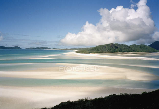 Aerial seascape of idyllic Whitehaven Beach, Australia — Stock Photo