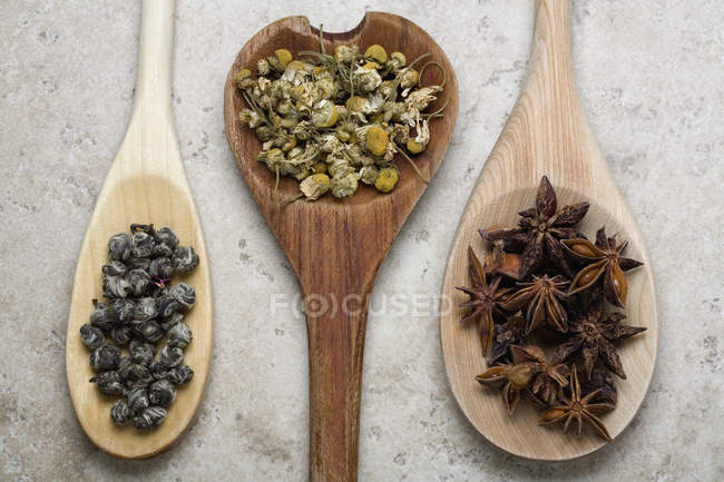 Kräuter und Gewürze auf Holzlöffel — Stockfoto