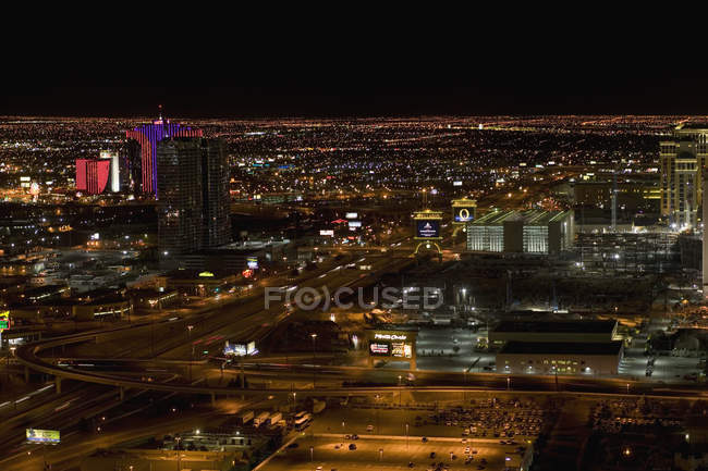 Aerial cityscape at night, Las Vegas, Nevada — Stock Photo