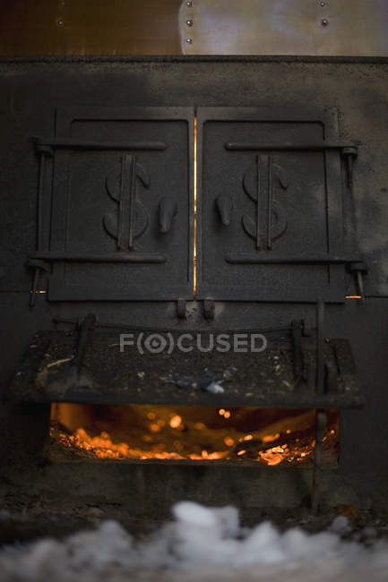Close up view of burning furnace — Stock Photo