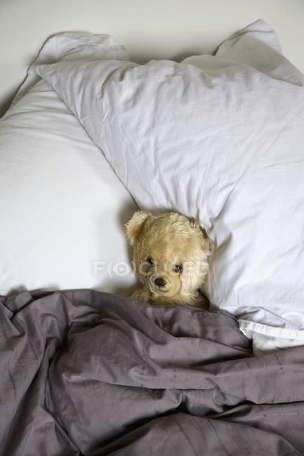 Top view of teddy bear in bed — Stock Photo