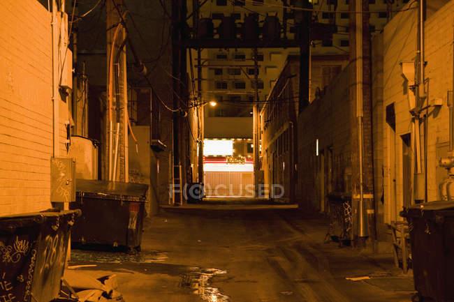 Уменьшающаяся перспектива аллеи ночью — стоковое фото