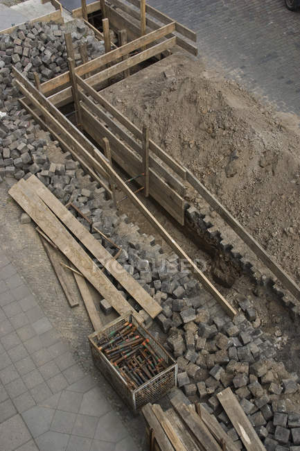 High angle view of excavation of cobblestone street — Stock Photo