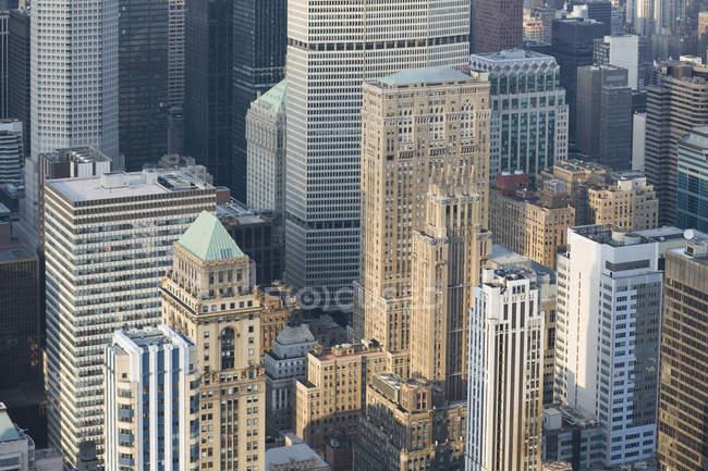 High angle view of skyscraper buildings facades — Stock Photo