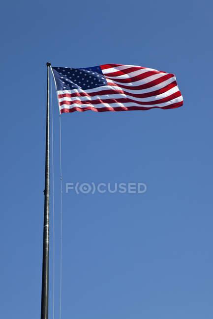 Bandera americana que agita sobre cielo azul - foto de stock