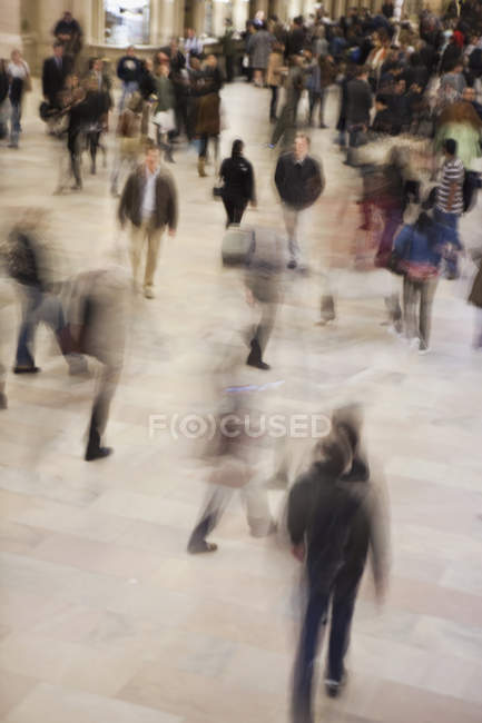 View to pedestrians walking in public square, Manhattan, New York City, NY, USA — Stock Photo