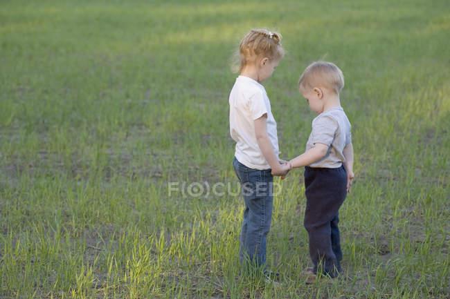 Une jeune sœur et son frère se tenant la main, dehors — Photo de stock