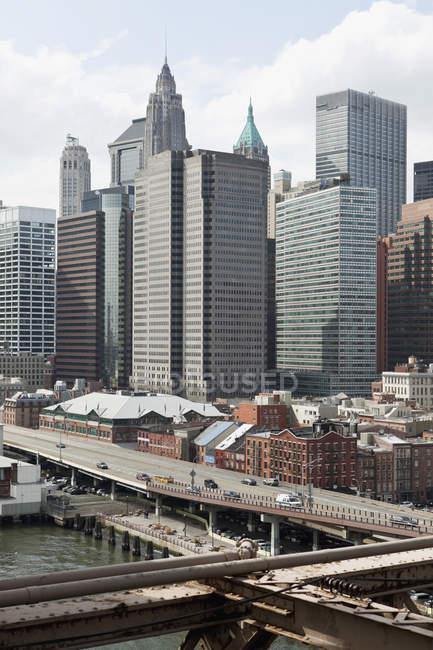 Expressway and downtown buildings, Manhattan, New York City, NY, USA — Stock Photo