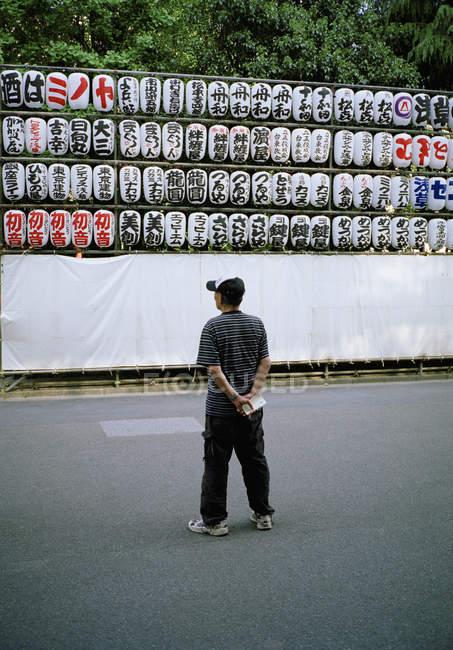 Задній вид чоловік дивиться на облаштування ліхтарі папери — стокове фото
