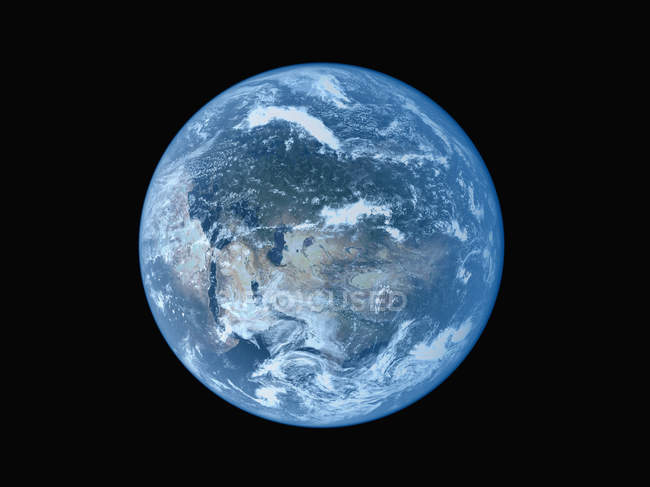 Satellite view of earth planet on black background — Stock Photo