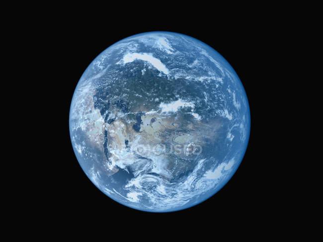 Vista satellitare del pianeta terra su priorità bassa nera — Foto stock