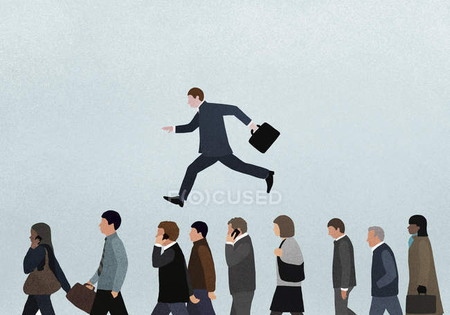 Illustration of businessman jumping over people against blue background — Stock Photo