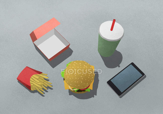 Illustration of fast food with drink and mobile phone against gray background — Stock Photo